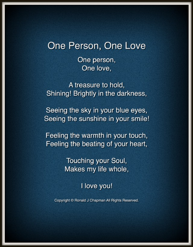 One Person, One Love Poem by Ronald Chapman - Poem Hunter