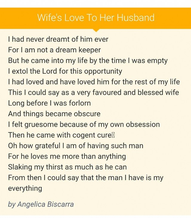 Think, wife love poems for her words