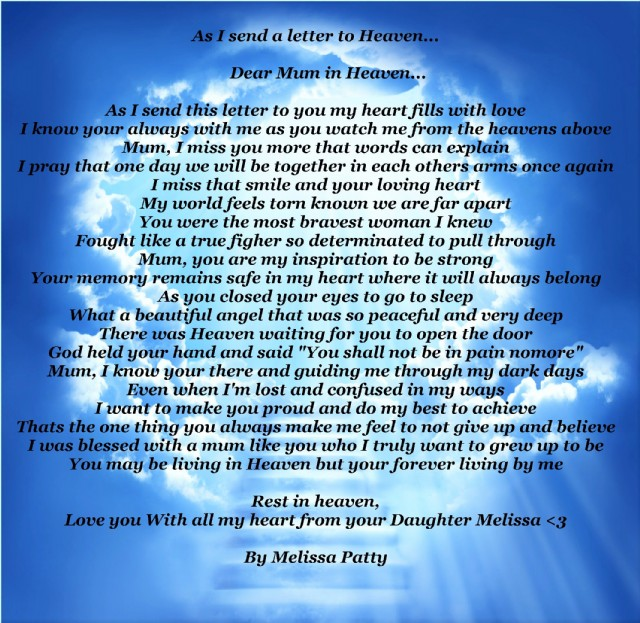 as i send a letter to heaven. poem by melissa patty - poem hunter