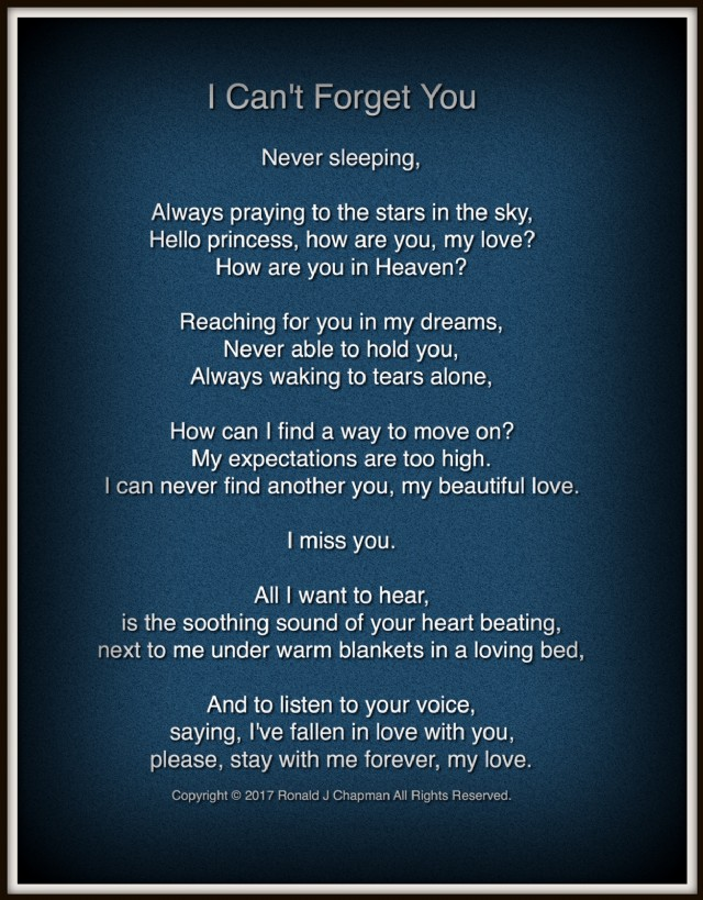 I Cant Forget You Poem By Ronald Chapman Poem Hunter