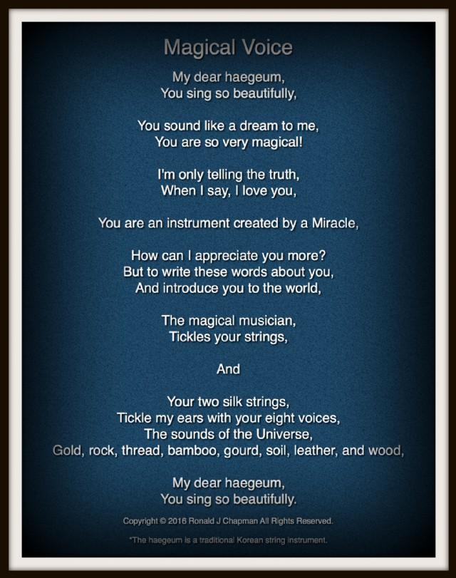 Magical Voice Poem by Ronald Chapman - Poem Hunter