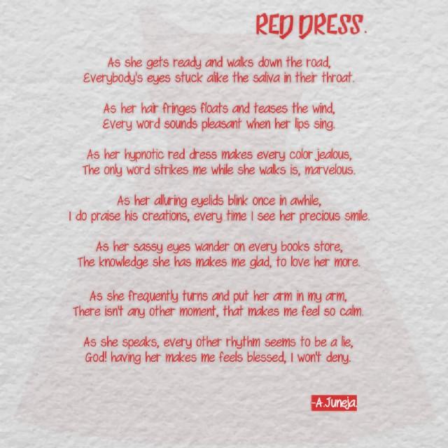 Red Dress Poem By Afzal Juneja Poem Hunter