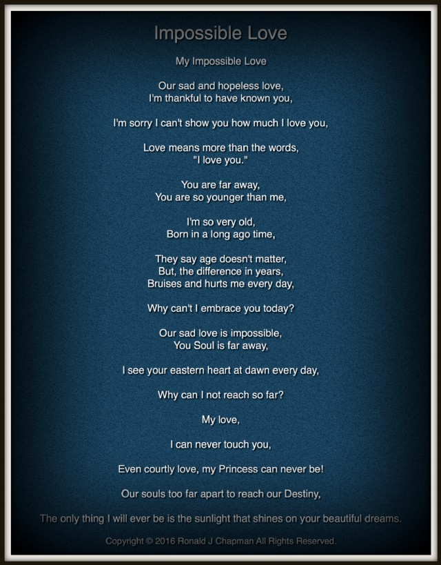 Impossible Love Poem By Ronald Chapman Poem Hunter - Impossible poem