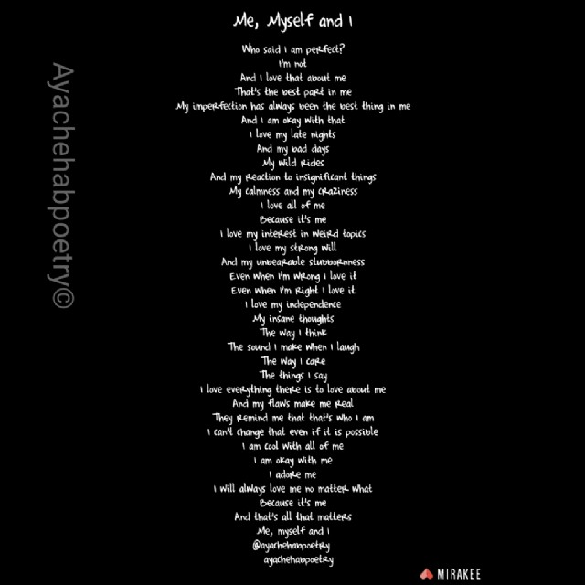 Me Myself And I Poem By Aya Chehab Poem Hunter Comments