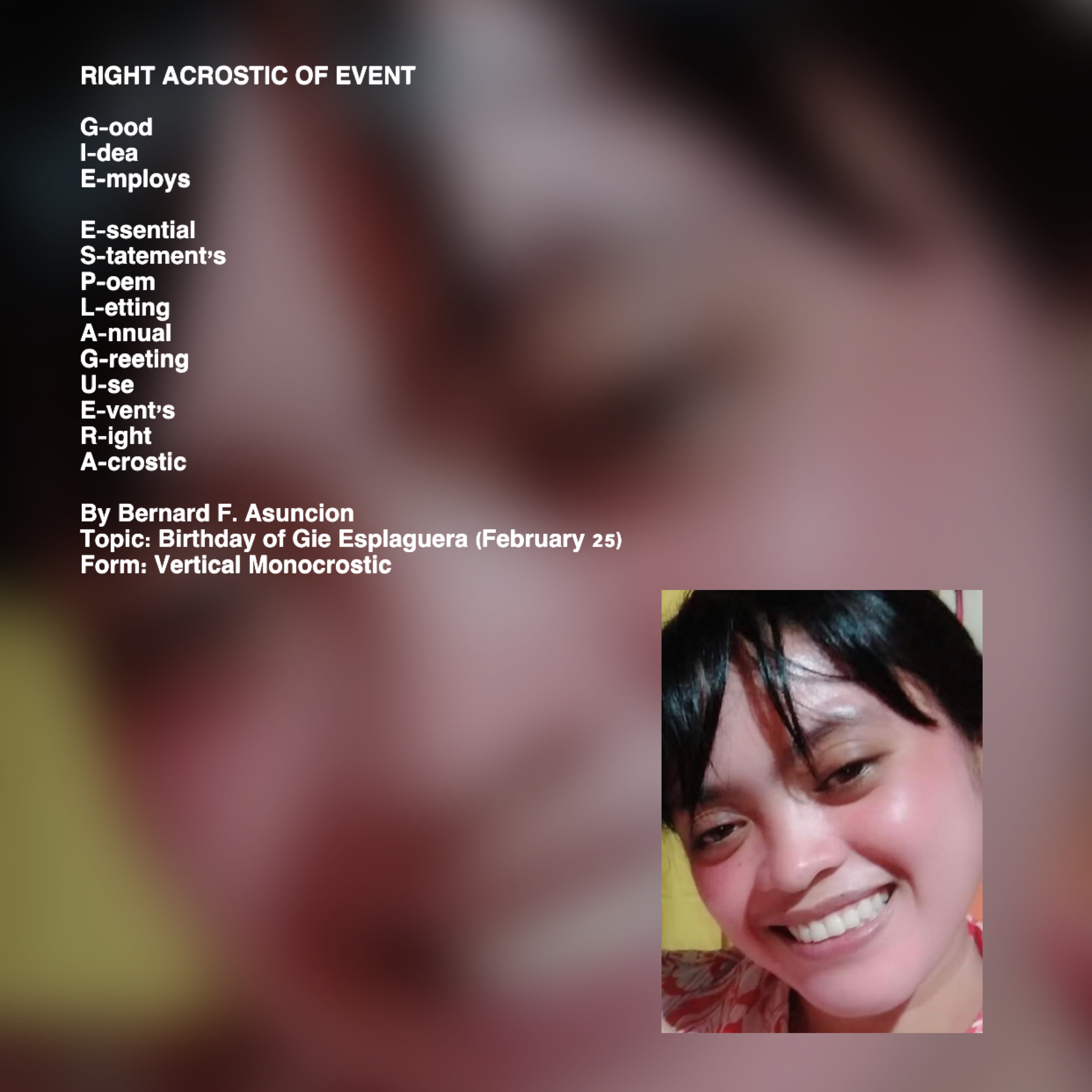 Right Acrostic Of Event