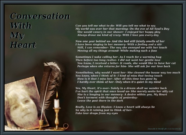 Conversation With My Heart Poem By Donald R Wolff Jr Poem Hunter