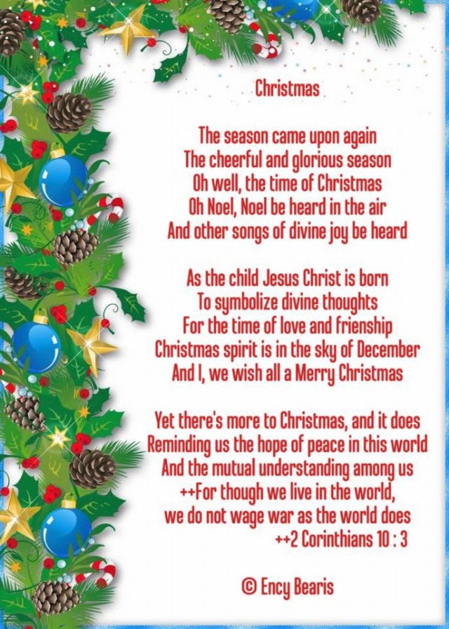 Christmas Poem.Christmas Poem By Ency Bearis Poem Hunter