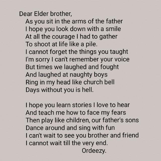 Dear Elder Brother Poem by Ordia Michael - Poem Hunter