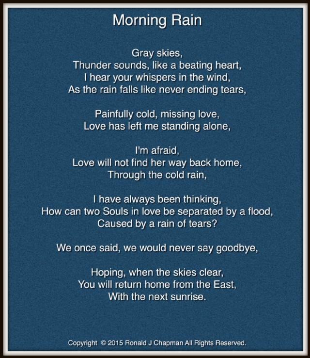Morning Rain Poem By Ronald Chapman Poem Hunter