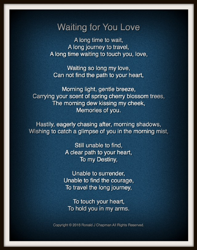 Waiting For You Love Poem By Ronald Chapman Poem Hunter Comments