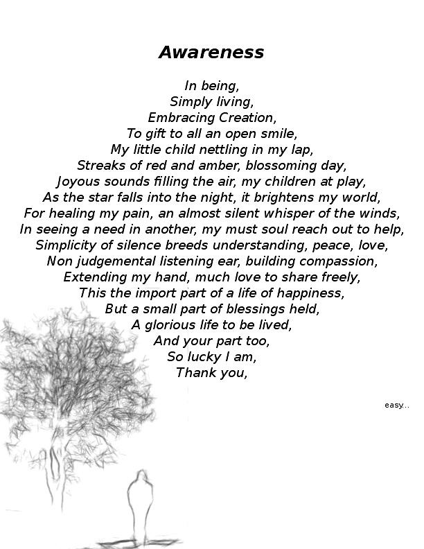 Awareness Poem by Steve 'easy' Whitacre - Poem Hunter
