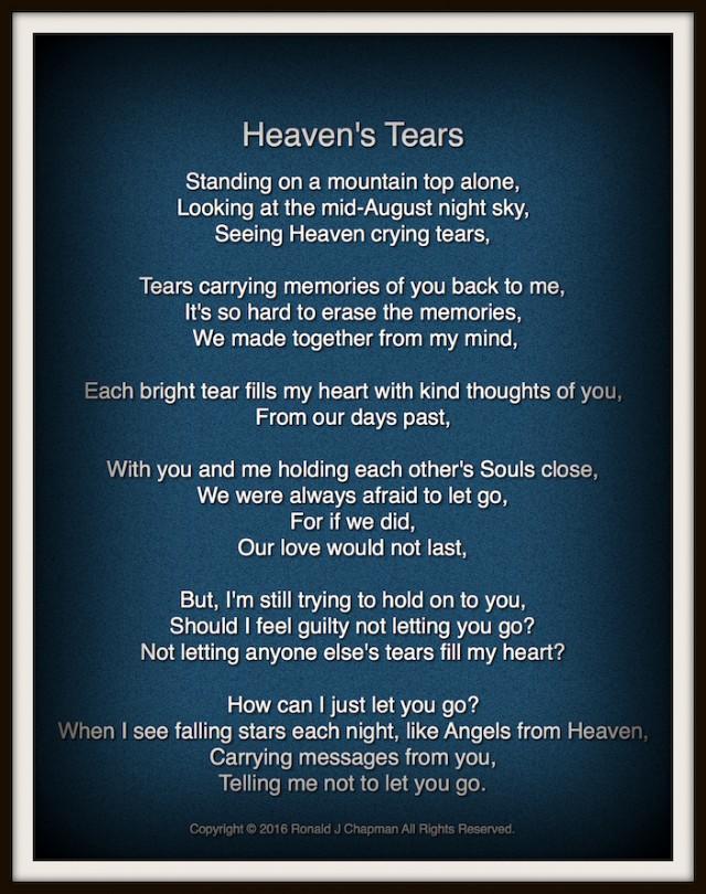 Heavens Tears Poem By Ronald Chapman Poem Hunter