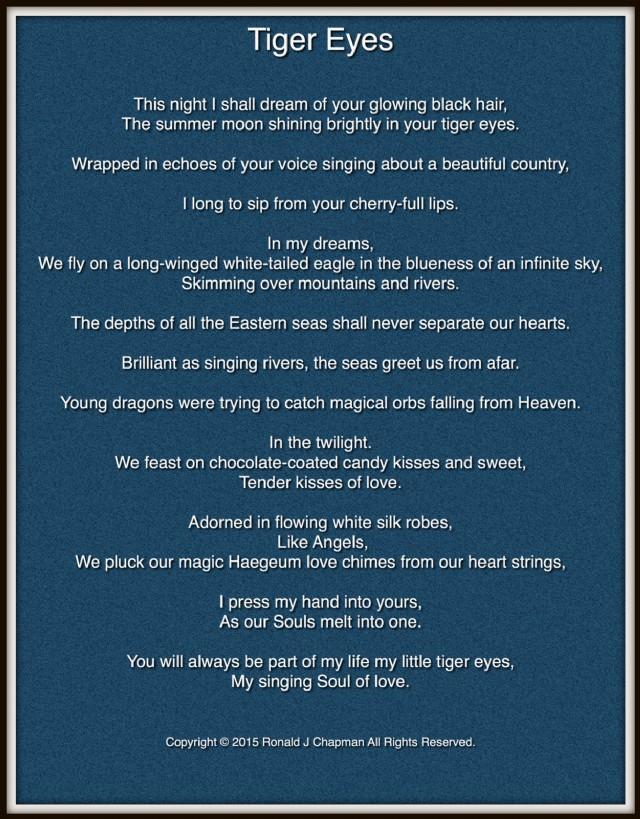 Tiger Eyes Poem by Ronald Chapman - Poem Hunter