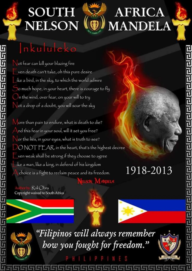 Nelson Mandela Acrostic Poem Donated To The Government Of The Republic Of South Africa