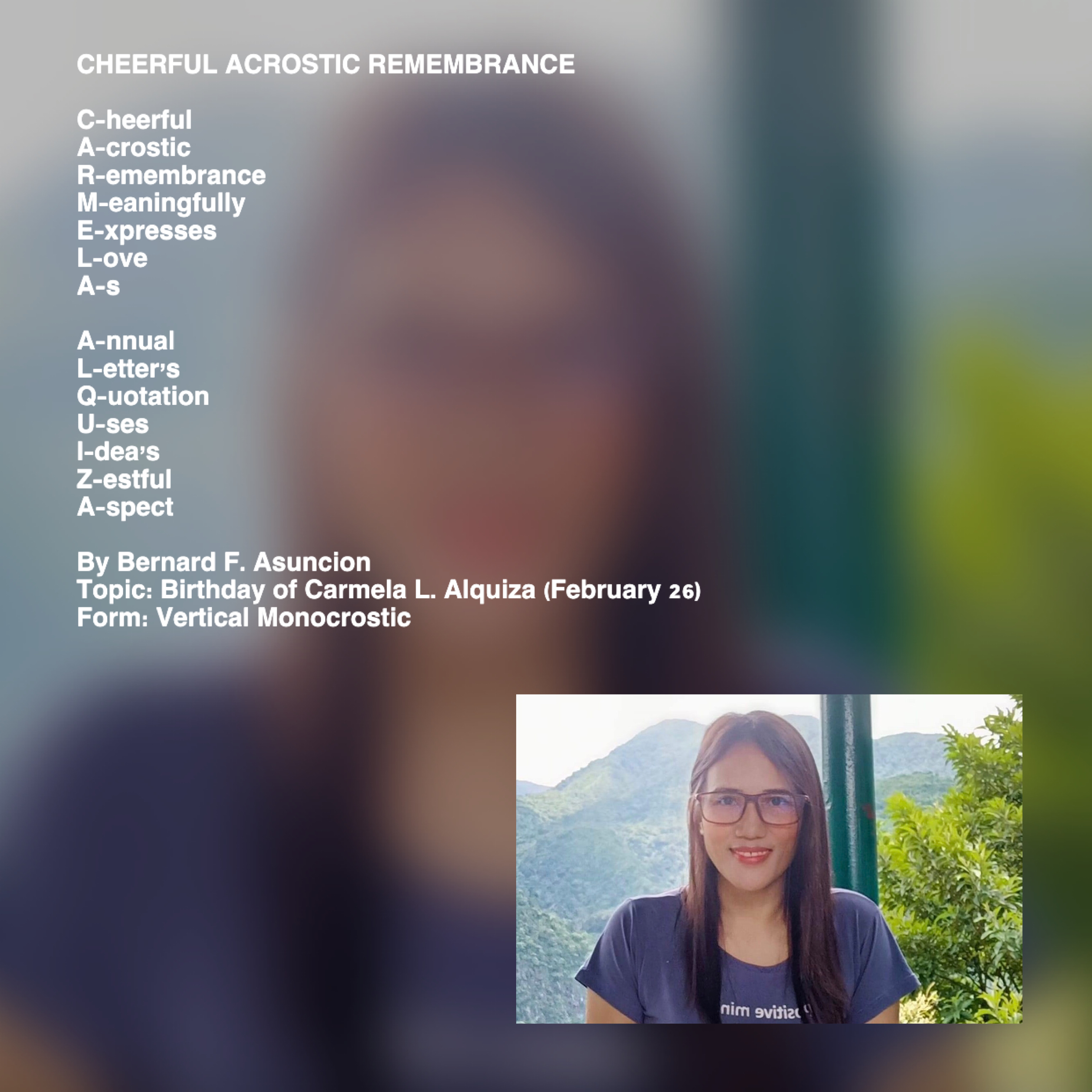 Cheerful Acrostic Remembrance