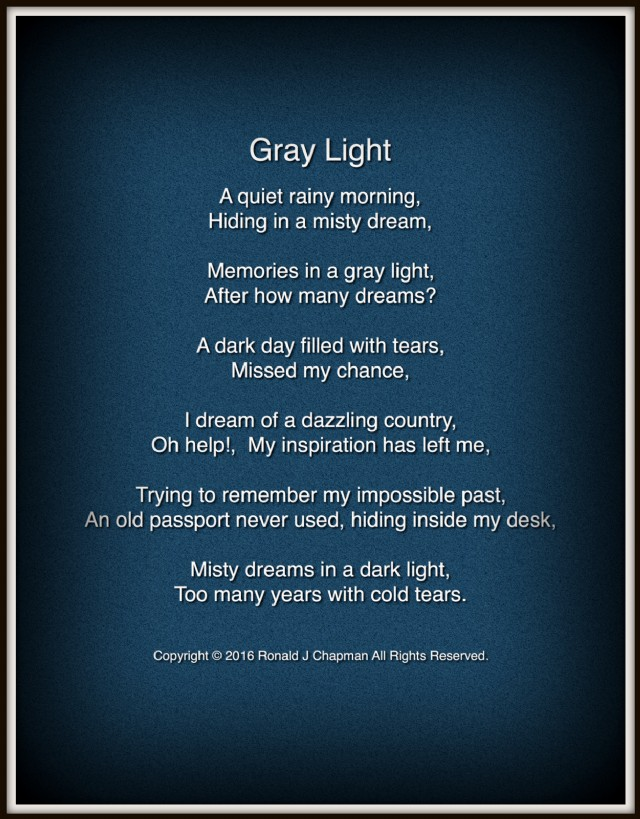 Gray Light Poem By Ronald Chapman Poem Hunter - Impossible poem