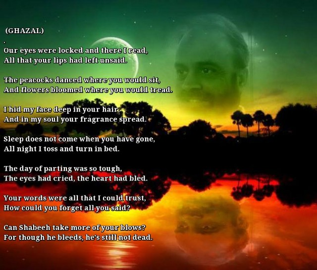 Ghazal Our Eyes Were Locked Poem By Shabeeh Haider Poem Hunter