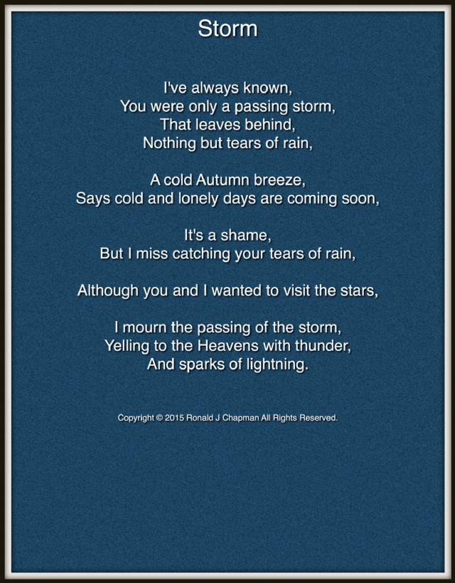 Storm Poem by Ronald Chapman - Poem Hunter Comments