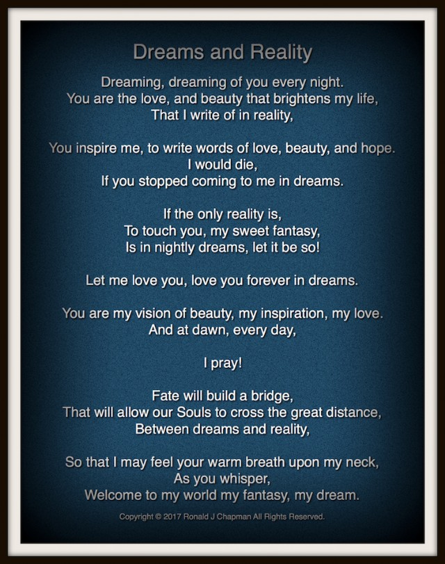 Dreams And Reality Poem By Ronald Chapman Poem Hunter