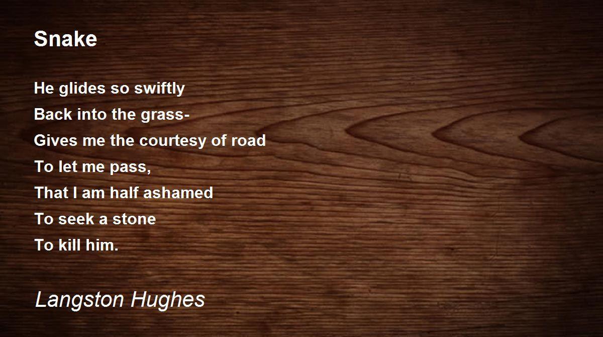 Snake Poem By Langston Hughes Poem Hunter