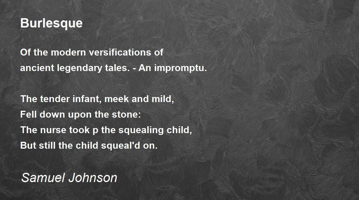 Burlesque Poem by Samuel Johnson - Poem Hunter
