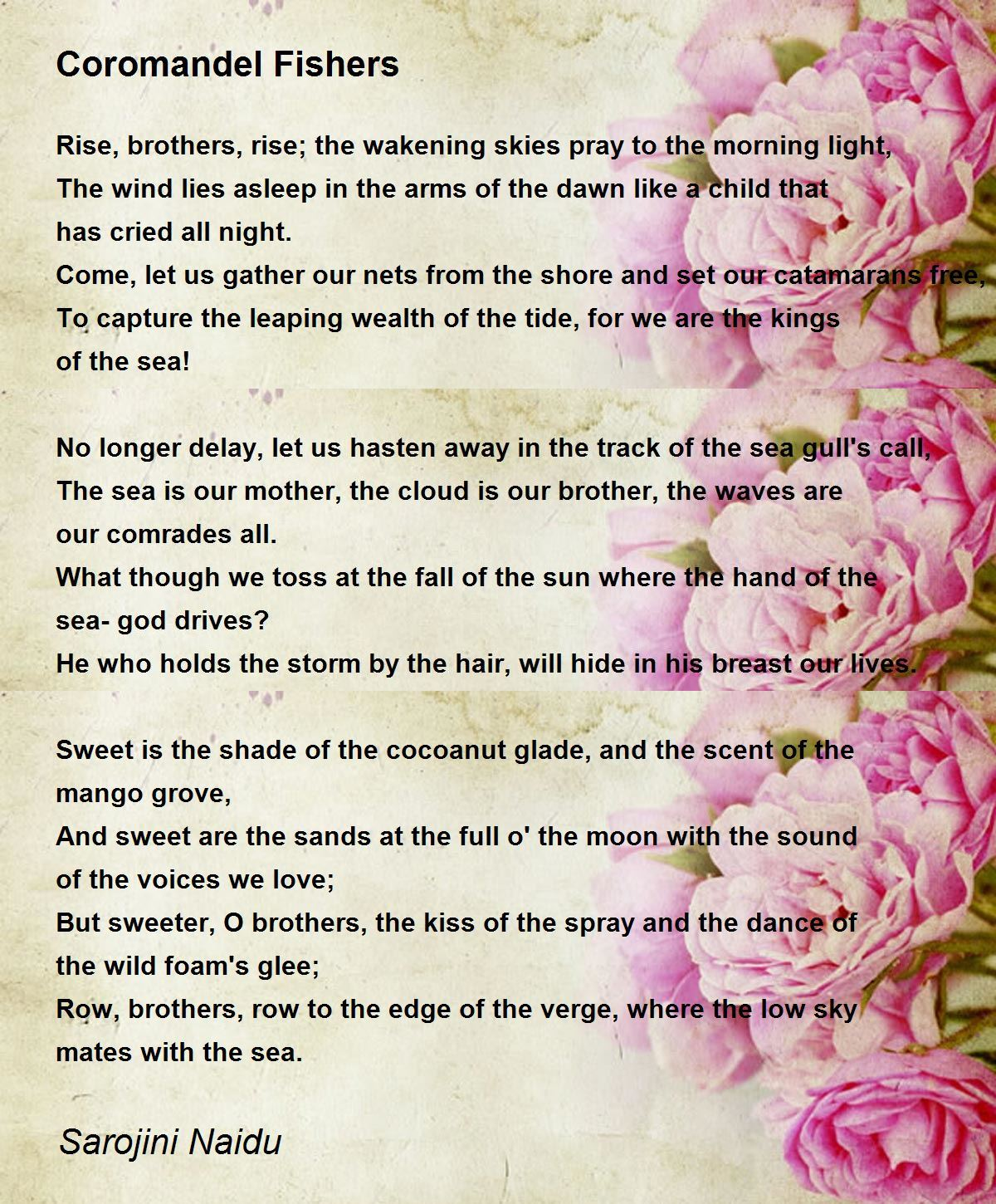 cor del fishers poem by sarojini naidu poem hunter