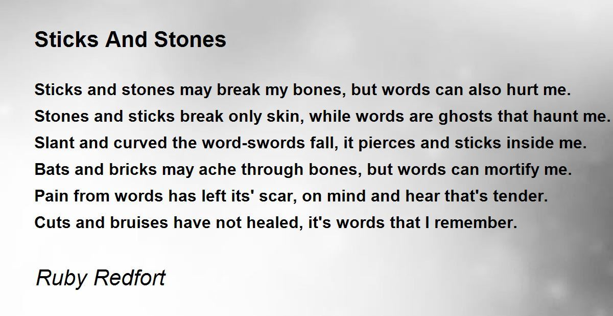 Sticks And Stones Poem By Ruby Redfort