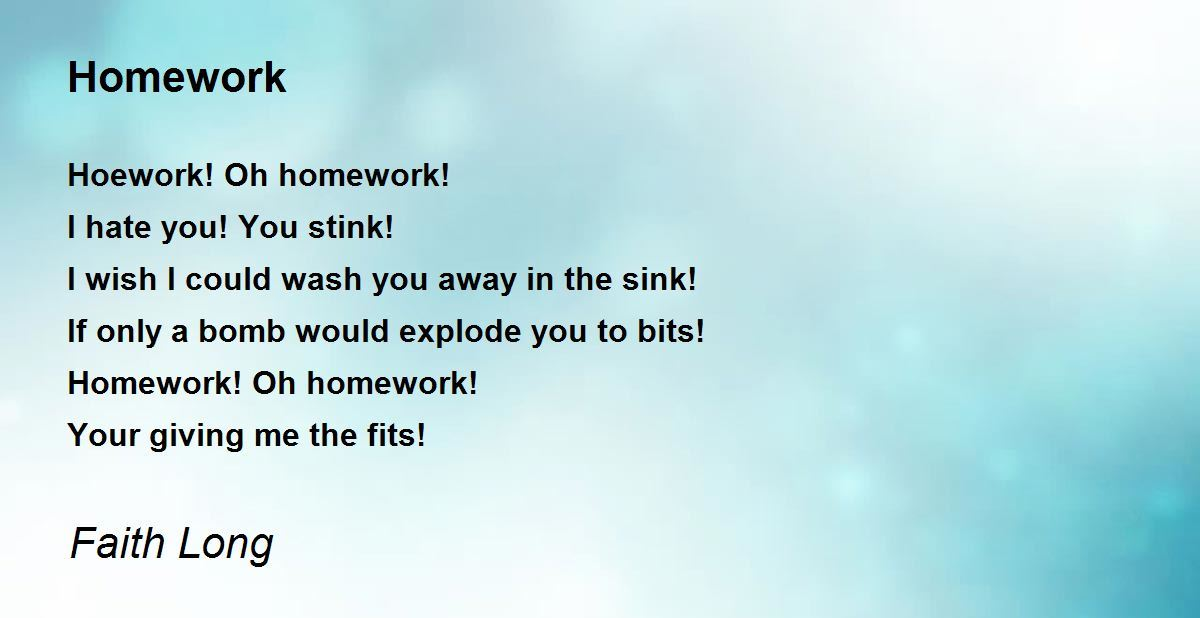 funny poems for kids about homework