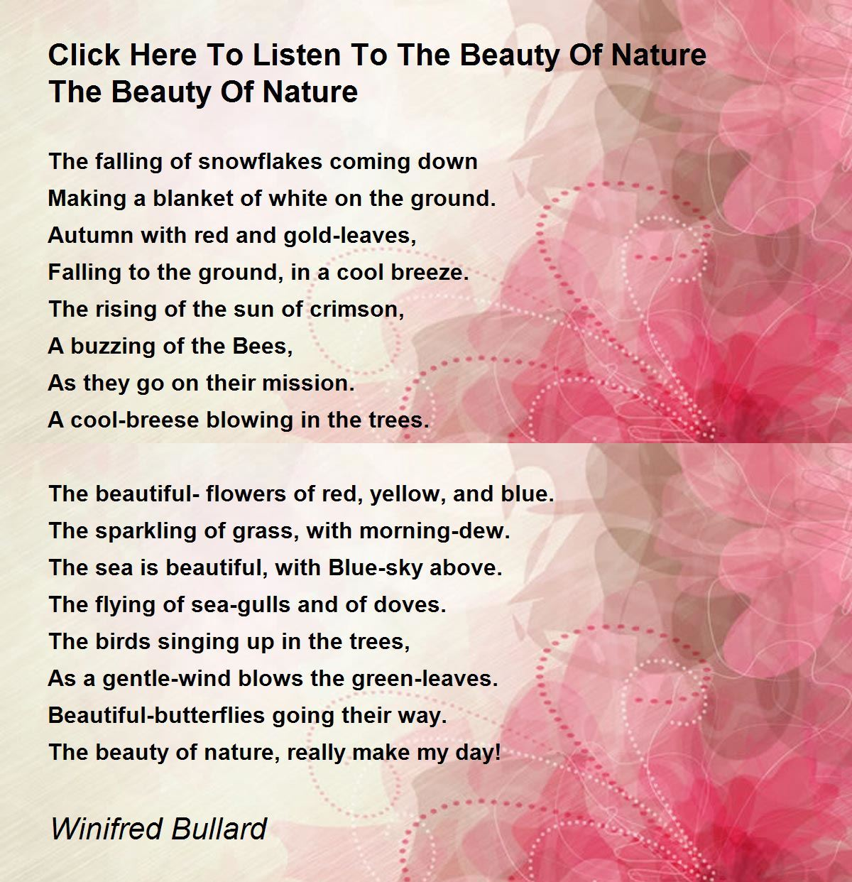Click Here To Listen The Beauty Of Nature Poem By Winifred Bullard