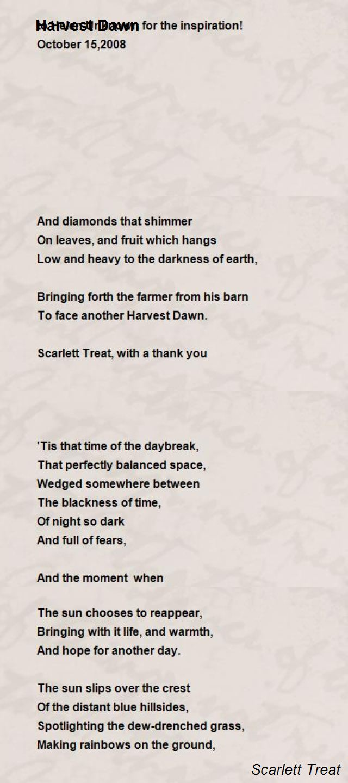 harvest dawn poem by scarlett treat poem hunter