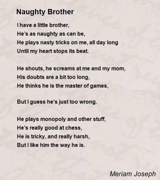 Naughty Brother Poem b...
