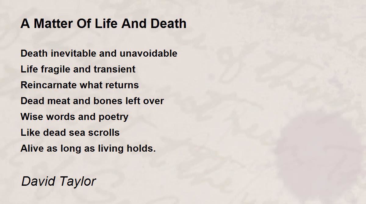 death is inevitable essay Read this english essay and over 88,000 other research documents thanatopsis thanatopsis death is inevitable every creature and living organism on this earth possesses mortality and will die at some point.
