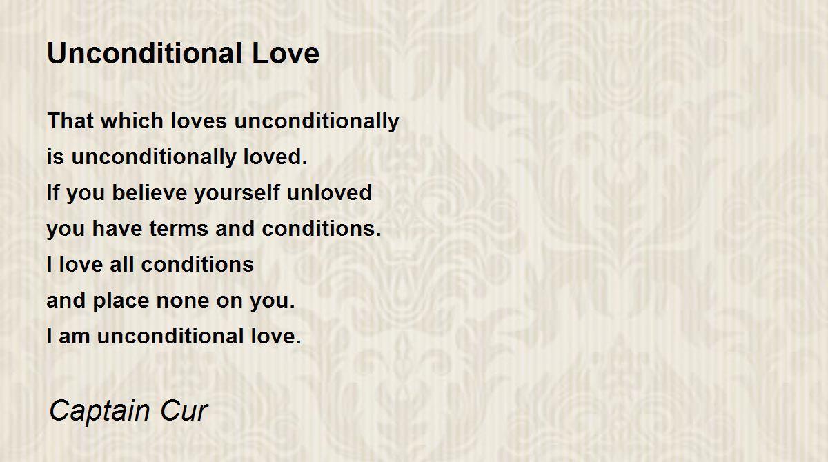 unconditional love poem by captain cur poem hunter