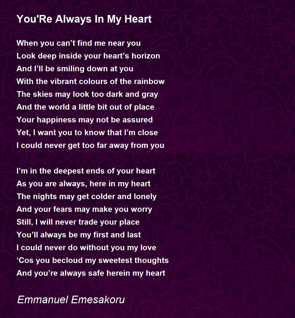 Poem with my you in heart I Carry