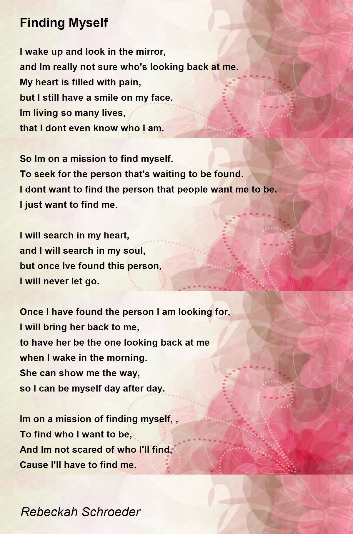 Again poems about finding yourself 20 Beautiful