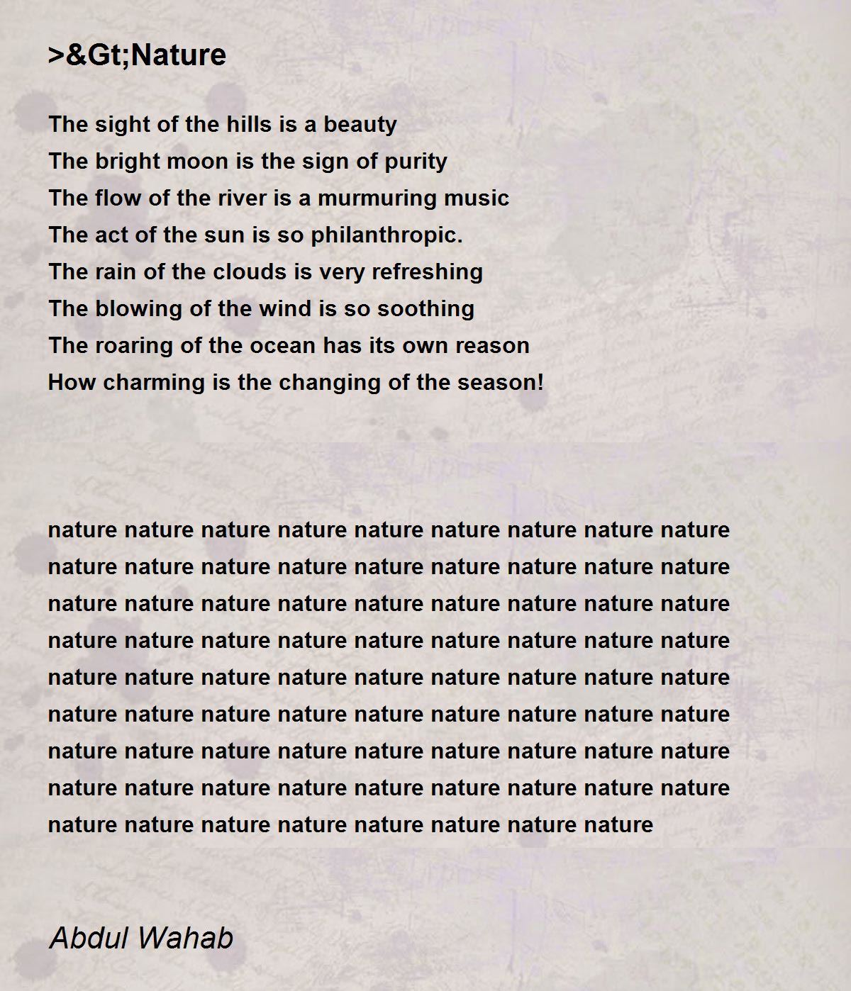 ≫Nature Poem by Abdul Wahab - Poem Hunter Comments Page 1