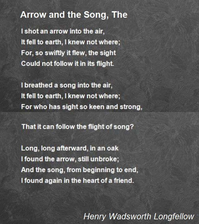 The Arrow And Song Poem By Henry Wadsworth Longfellow