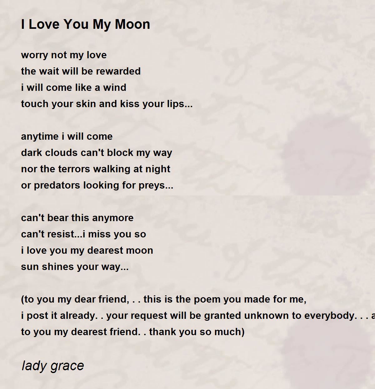 I Love You My Moon Poem By Lady Grace Poem Hunter