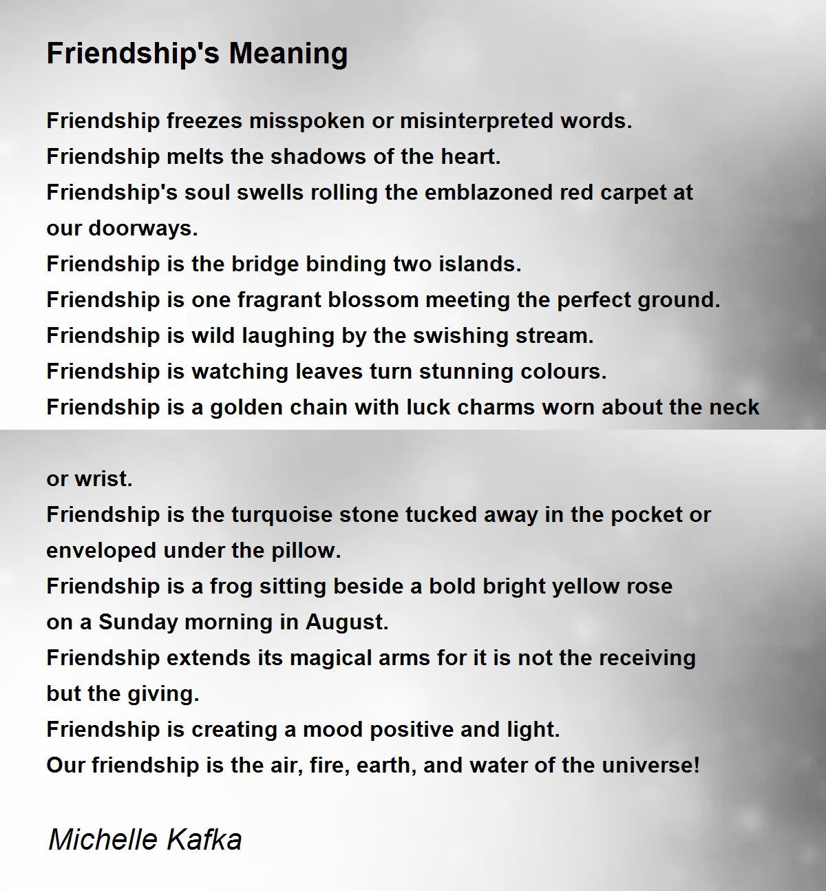 essay on true meaning of friendship The true meaning of friendship some of these pictures will make you laugh, some will make you cry, and some will make you say awwwww but they all will remind you.
