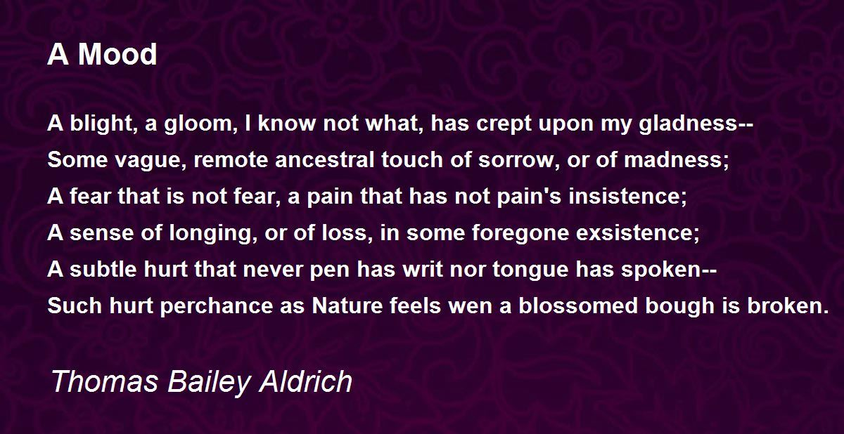 Purple Mood a mood poemthomas bailey aldrich - poem hunter