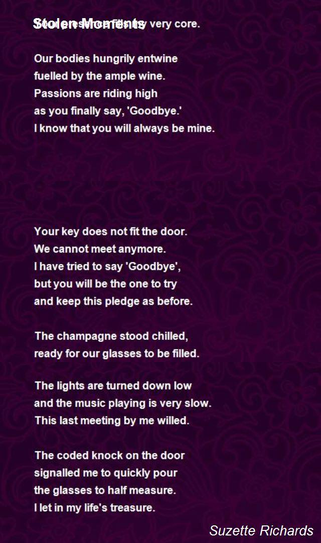 Stolen Moments Poem by Suzette Richards