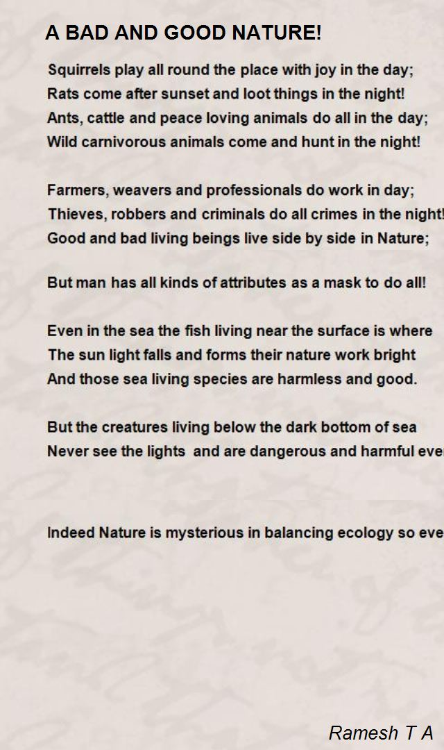 bad and good nature  poem by ramesh t a