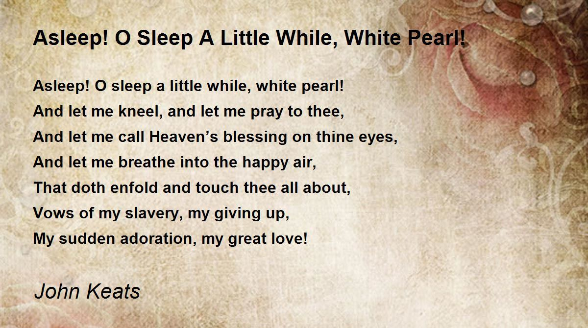 john keats to sleep