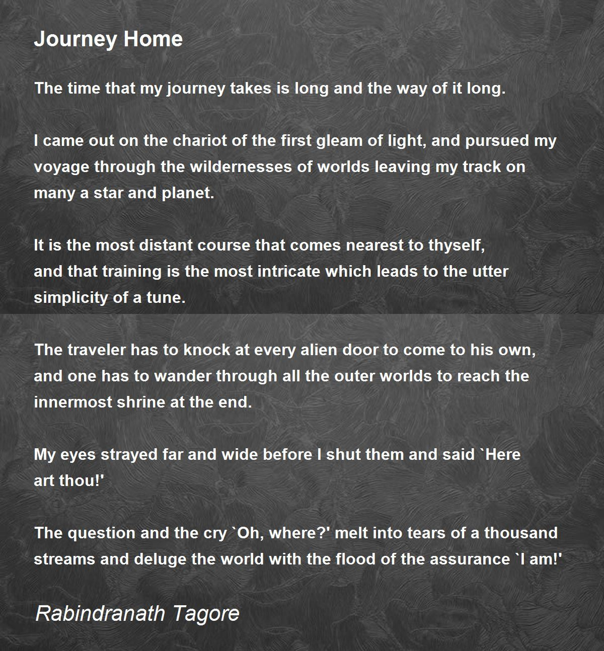 Journey Home Poem by Rabindranath Tagore - Poem Hunter