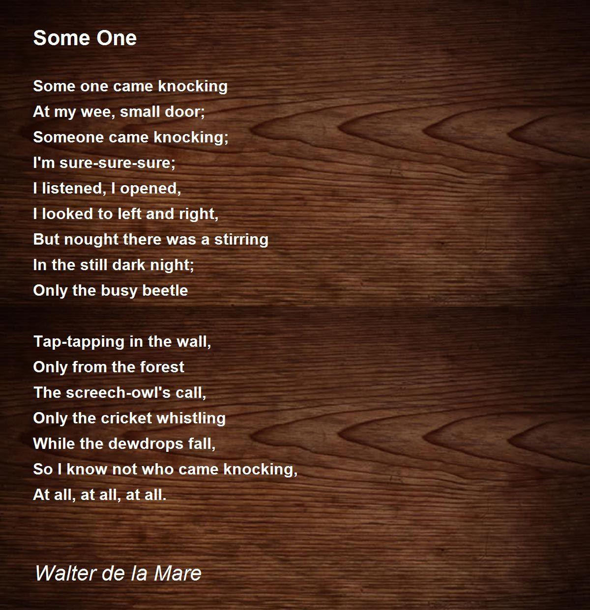 Some e Poem by Walter de la Mare Poem Hunter