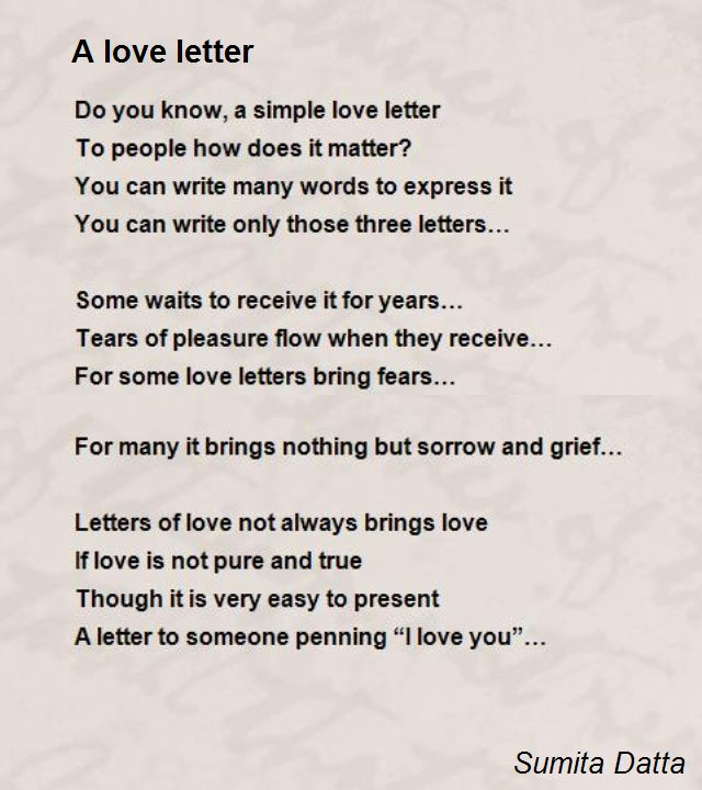 A Love Letter Poem By Sumita Datta  Poem Hunter