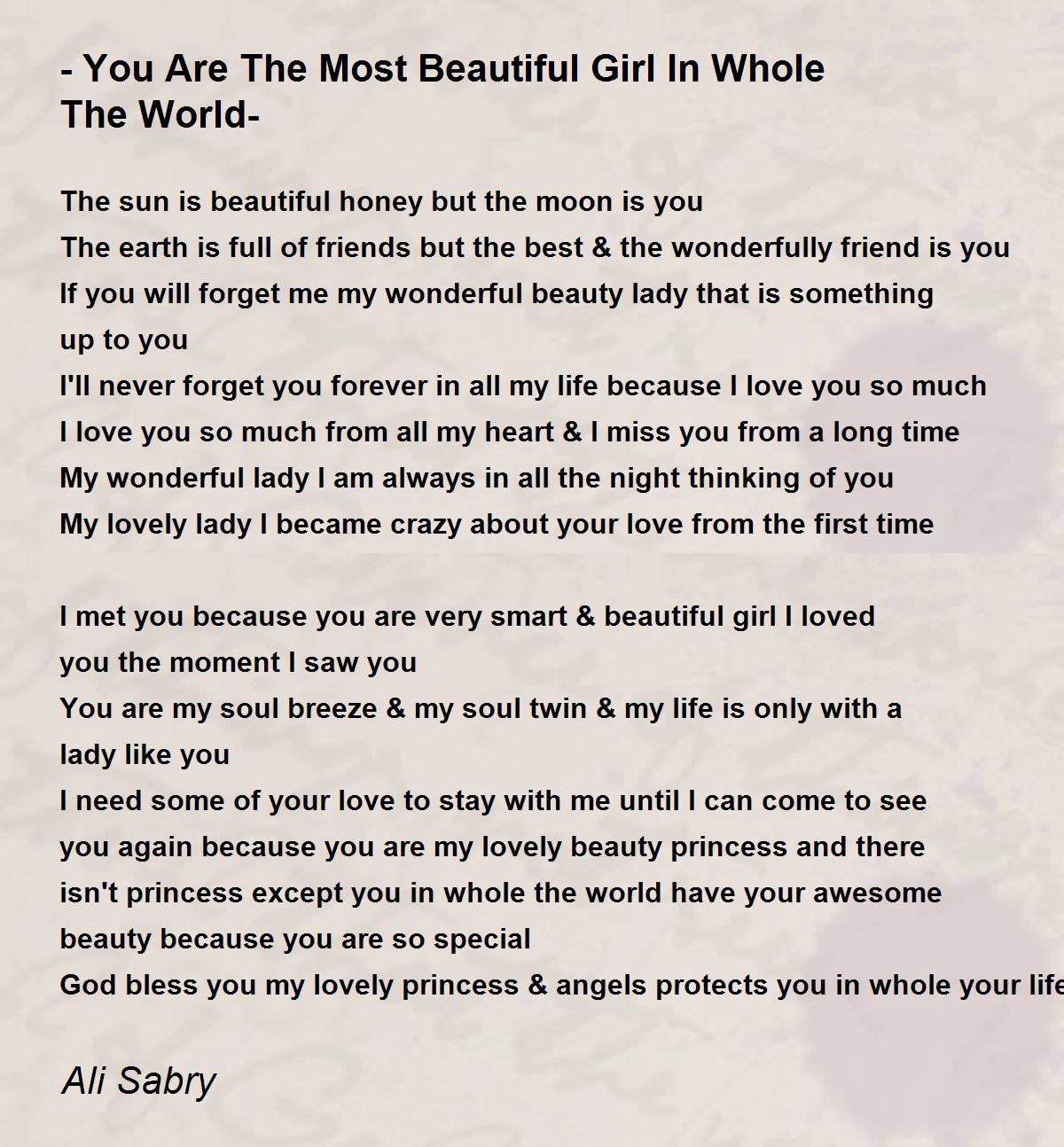 You Are The Most Beautiful Girl In Whole The World- Poem ...