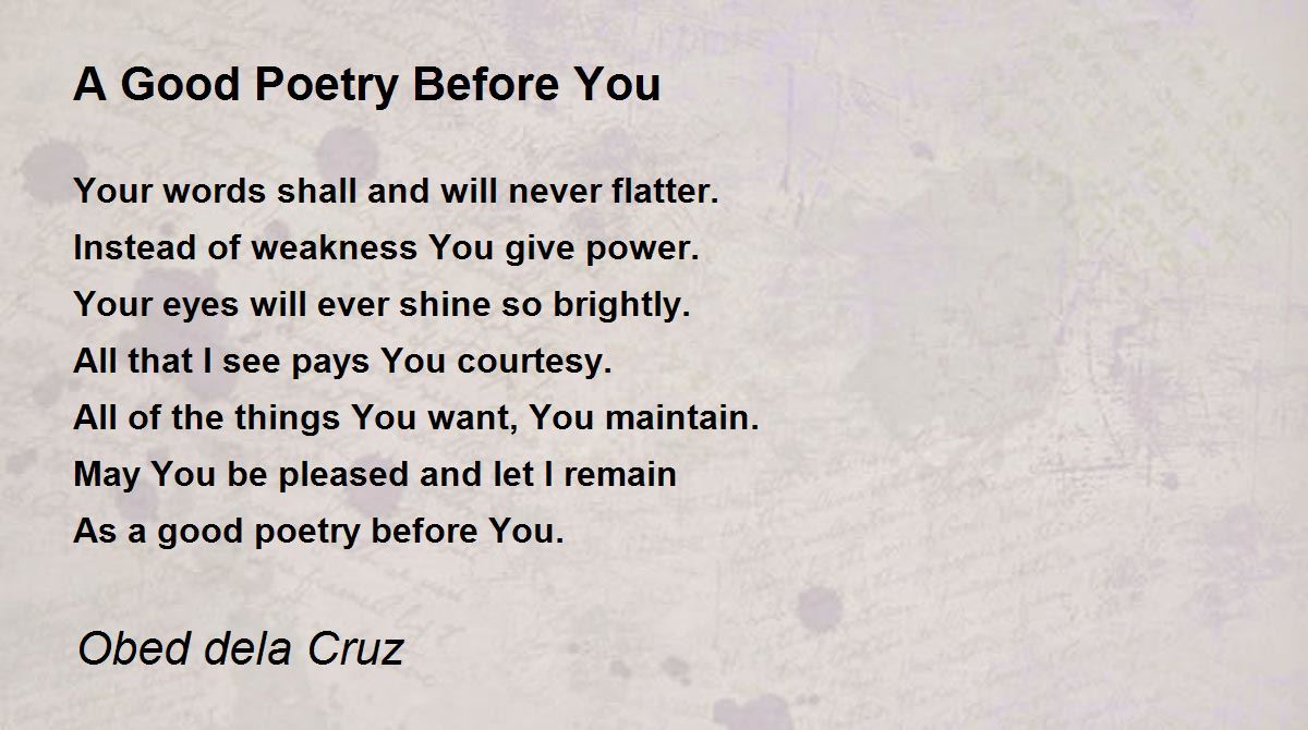 how to be a good poet pdf