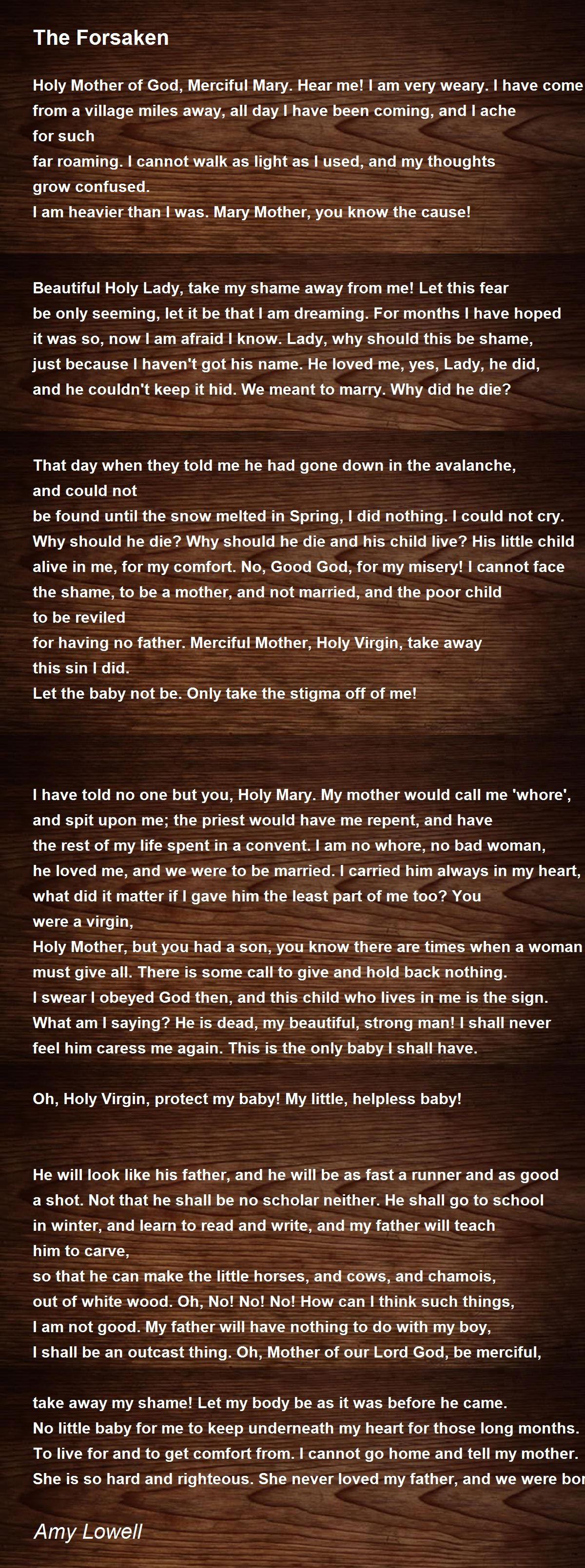 The Forsaken Poem by Amy Lowell - Poem Hunter