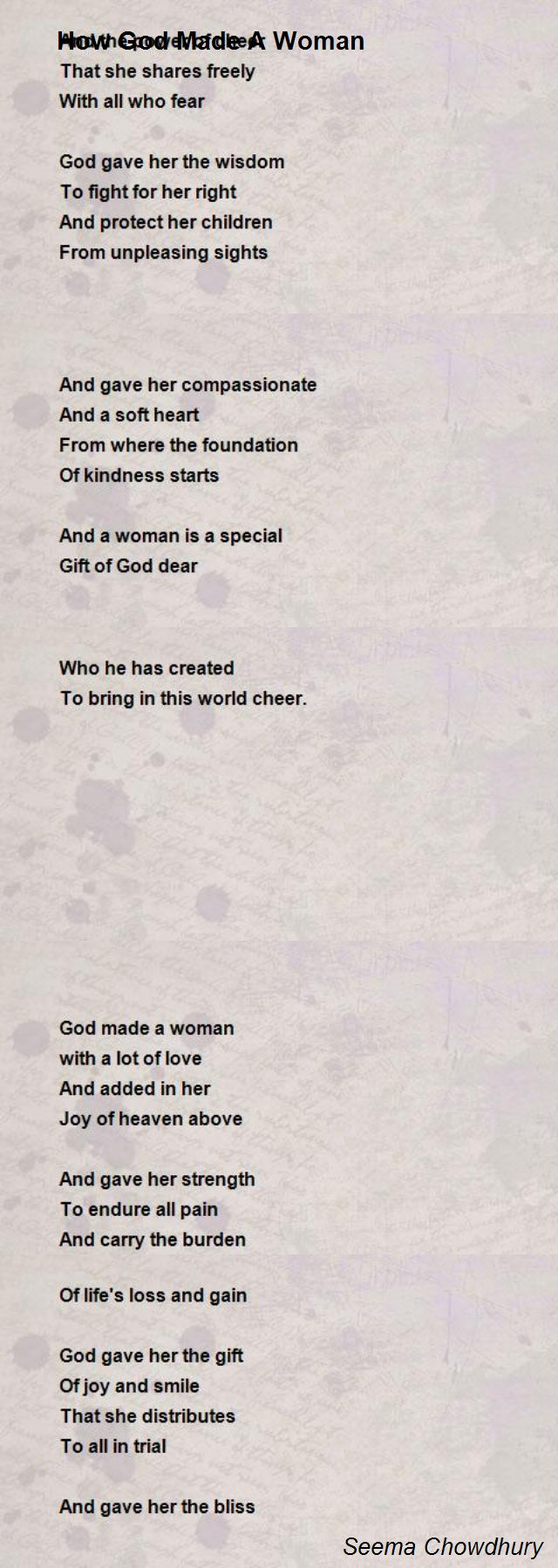 How God Made A Woman Poem By Seema Chowdhury Poem Hunter